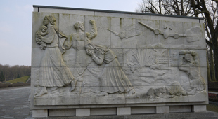 Stone frieze wall-Russians being bombed